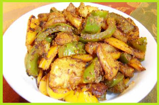 Aalu Simla Mirch ki Sukhi Sabji