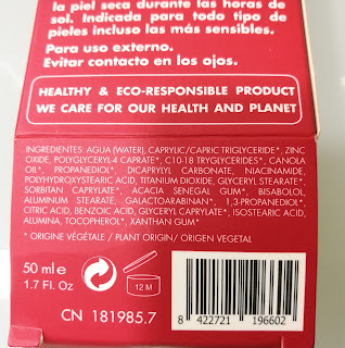 Ingredientes crema Eco Friendly cream SPF 30