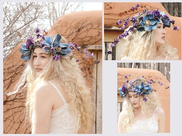 santa fe bride, blonde bride, non-traditional bride, flower crown