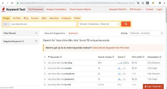 công cụ nghiên cứu từ khóa keywordtool.io