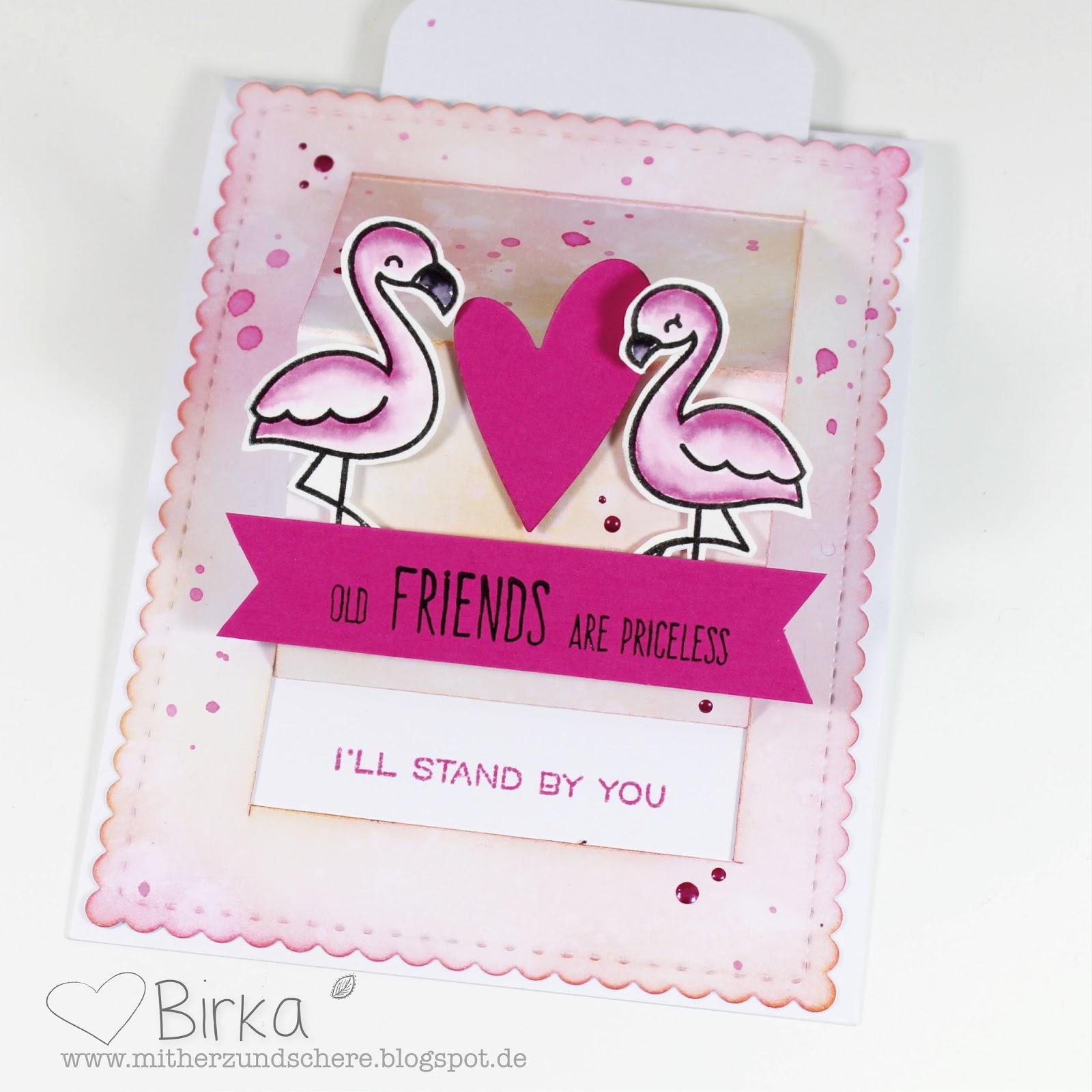Mit Herz und Schere Flamingos