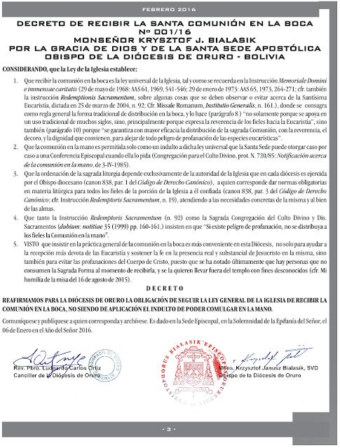 Decreto Comunhão na Boca - Dom Bialasik, Oruro, Bolívia