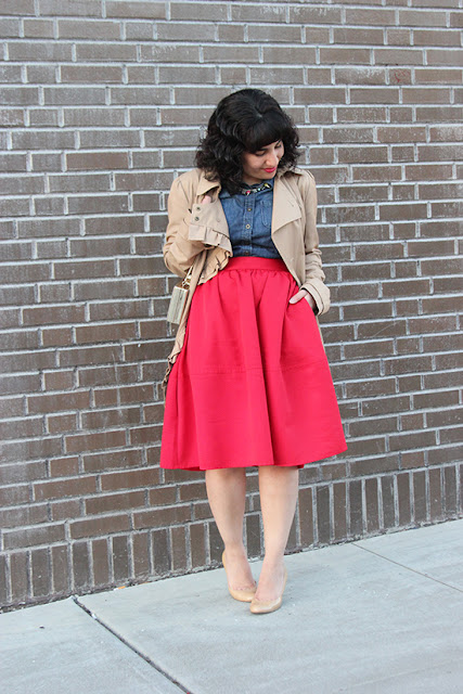 Tan Trench Coat, Red Midi Skirt and Nude Patent Pumps
