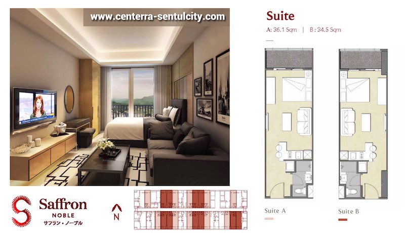 Saffron Noble Sentul City Apartment Studio Type