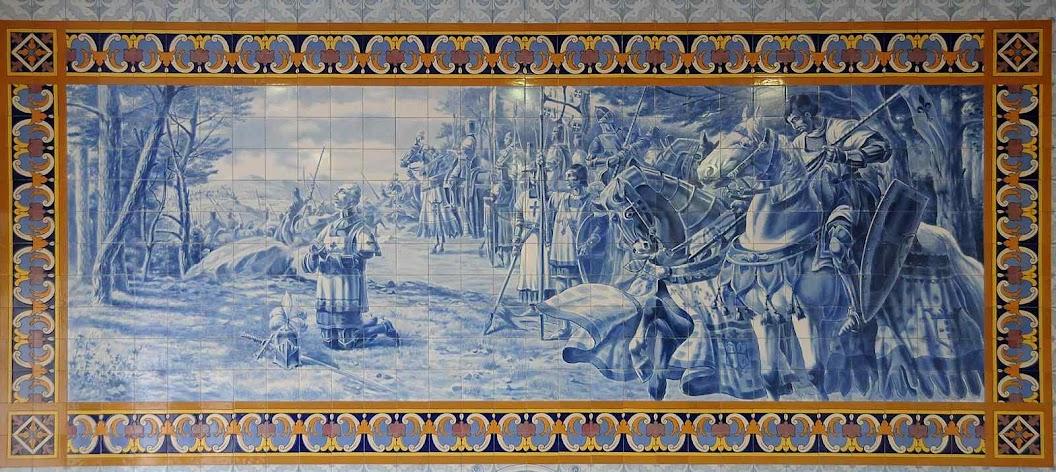 São Nun'Alvares Pereira reza antes da batalha de Aljubarrota, Centro Cultural Rodrigues de Faria, Forjães, Esposende, Portugal.