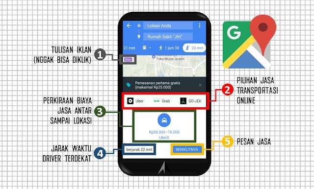 fitur baru google maps jasa transportasi online new