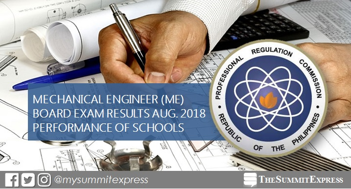 Performance of schools: Mechanical Engineer ME, CPM board exam August 2018