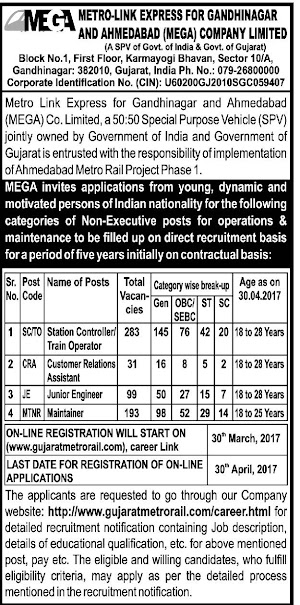 Gujarat Metro Rail 606 Station Controller,Maintainer,Junior Engineer Recruitment 2017