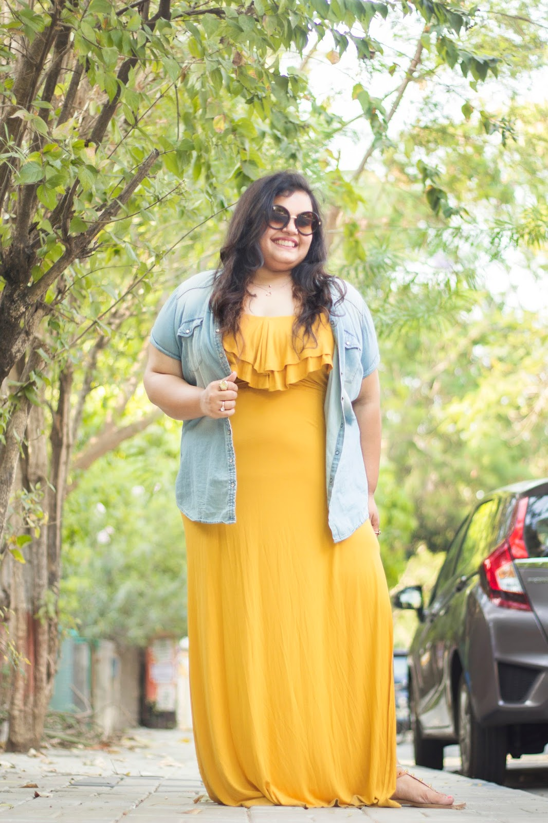 yellow maxi dress blue denim shirt summer outfit