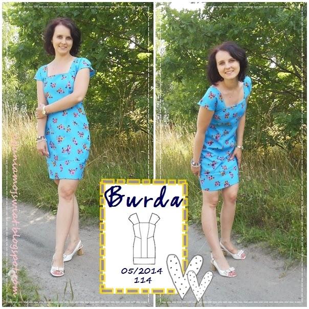 Sukienka w kwiaty Burda 05/2014 model 114