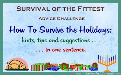 Survival of the Fittest: many bloggers share tips, suggestions, hints and advice on how to survive the holiday season . . . all in one sentence | www.BakingInATornado.com | #humor #blogging #holiday