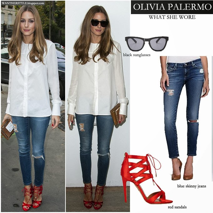 olivia+palermo+in+white+blouse+with+blue+skinny+distressed+jeans+and+red+open+toe+aquazzura+sandals+in+paris+at+th