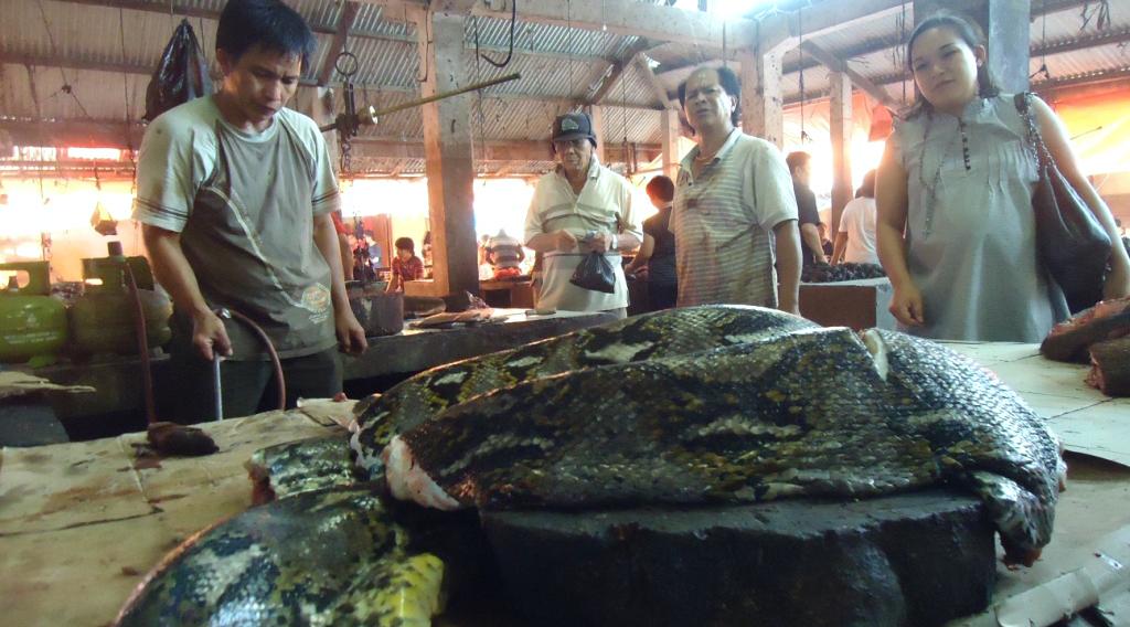 jual daging ular Pasar Beriman di Tomohon, Manado