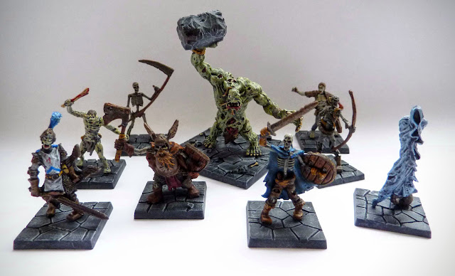 Dungeon Saga: Dwarf King's Quest painted evil dead: zombies, skeleton warriors, dwarf revenant, ghost, zombie troll, undead.
