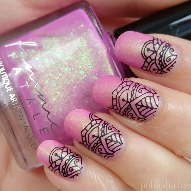 Femme Fatale Cosmetics 'Crown of Ribbons' stamping nail design, by polilish