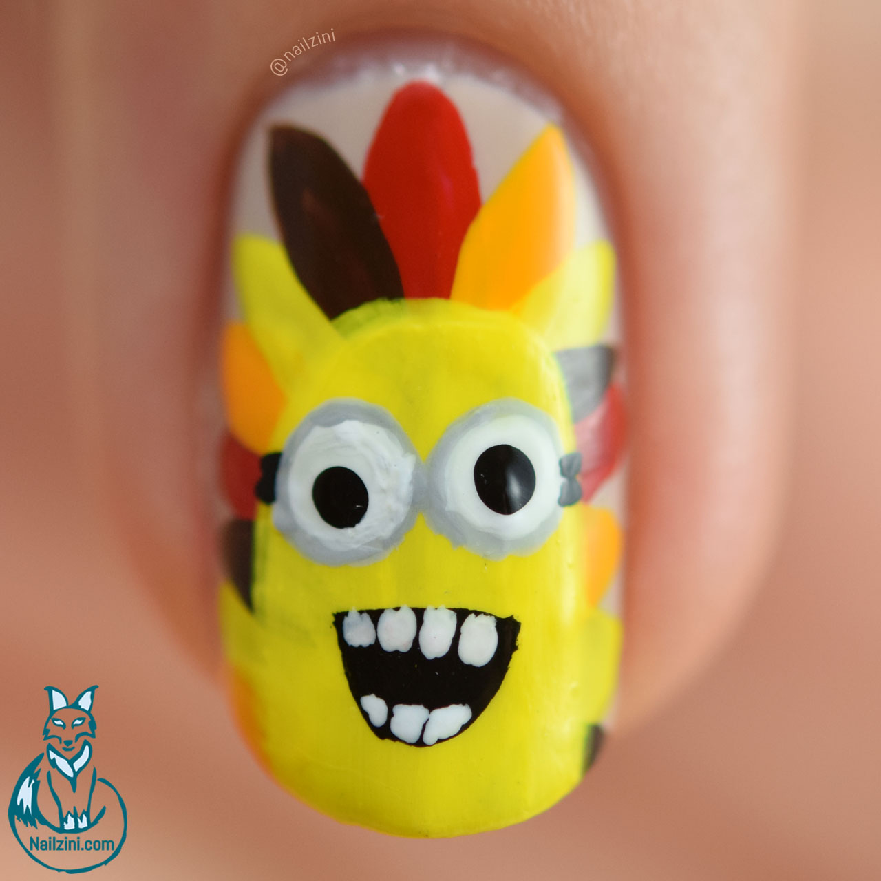 Thanksgiving Minions Nail Art Nailzini