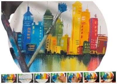 Cómo pintar edificios-rascacielos de colores en 4 trazos