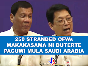 """The President assures that he will bring 250 stranded OFWs from Saudi Arabia with him when he returned to the Philippines after a series of visit in the Middle East.  During his speech in Davao before his departure, he said that God-willing, he will bring some OFWs in death row with him when he return to the country. During his speech in front of the Filipino Community in Riyadh , Saudi Arabia, President Duterte said that he will be bringing home the first batch of 250 OFWs who had been stranded in Saudi Arabia for a very long time, and they will continue to do it.  """"We are arranging for the transportation of 250 OFWs who hopefully be back to the Philippines in time for the return of President Rodrigo Duterte.., """" DOLE Secretary Silvestre Bello III said.  Secretary Bello also added that since the announcement of the Saudi Crown Prince Deputy Prime Minister and the Minister of Interior Prince Mohammed bin Naif Al Saud about the amnesty program for expats, DOLE has already sent an augmentation team to assist the OFWs  to comply with the requirements for the amnesty and a lot of them have already availed it.  According to Secretary Bello, they are also working on the unpaid claims of the OFWs and they are only validating it in order to establish their claims. If they are all been verified, OWWA will be paying their money claims in advance. President Duterte will also be visiting Bahrain and Qatar after his visit to Saudi Arabia and is expected to be back in the Philippines on April 17. Recommended:  """"They've been given the clearance. I will fly them home. When I return, I'll be bringing some of them home, """" he said during a pre-departure press briefing in Davao City.  Reports saying that the Embassy officials in Saudi Arabia have been acting slow with regards to helping stranded and runaway OFWs are not entirely correct according to Philippine Consul General Iric Arribas. He also said that the Philippine Embassy in Riyadh and  the philippine Consulate in Jeddah are bot"""