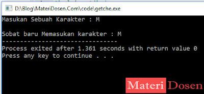 contoh program menggunakan fungsi getche