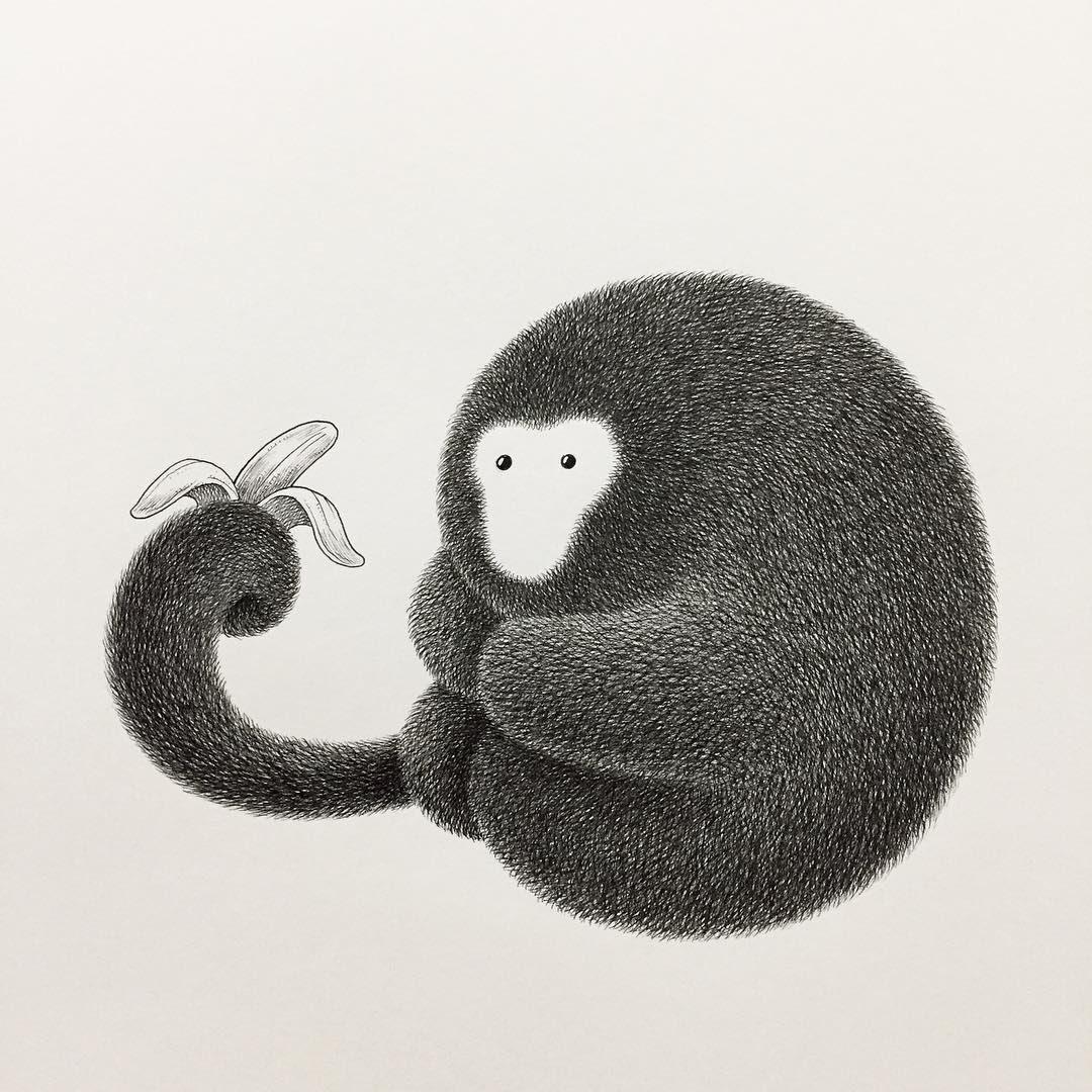 15-Monkey-and-a-Banana-Kamwei-Fong-14-Furry-Cats-and-1-Furry-Monkey-Drawings-www-designstack-co