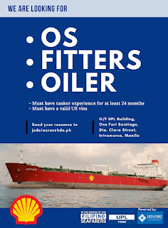 SEAMAN JOB INFO - Opening career for Filipino seaman crew work at oil tanker ship with valid US visa join December 2018