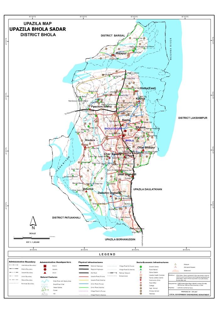 Bhola Sadar Upazila Map Bhola District Bangladesh