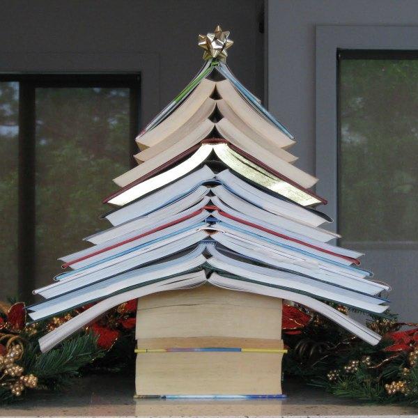 Árvores de Natal alternativas com livros