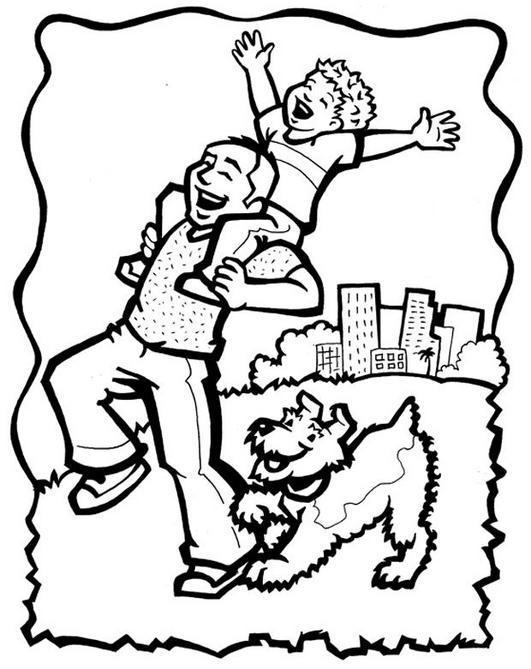 Dibujo de un padre cargando a su hijo para colorear pintar