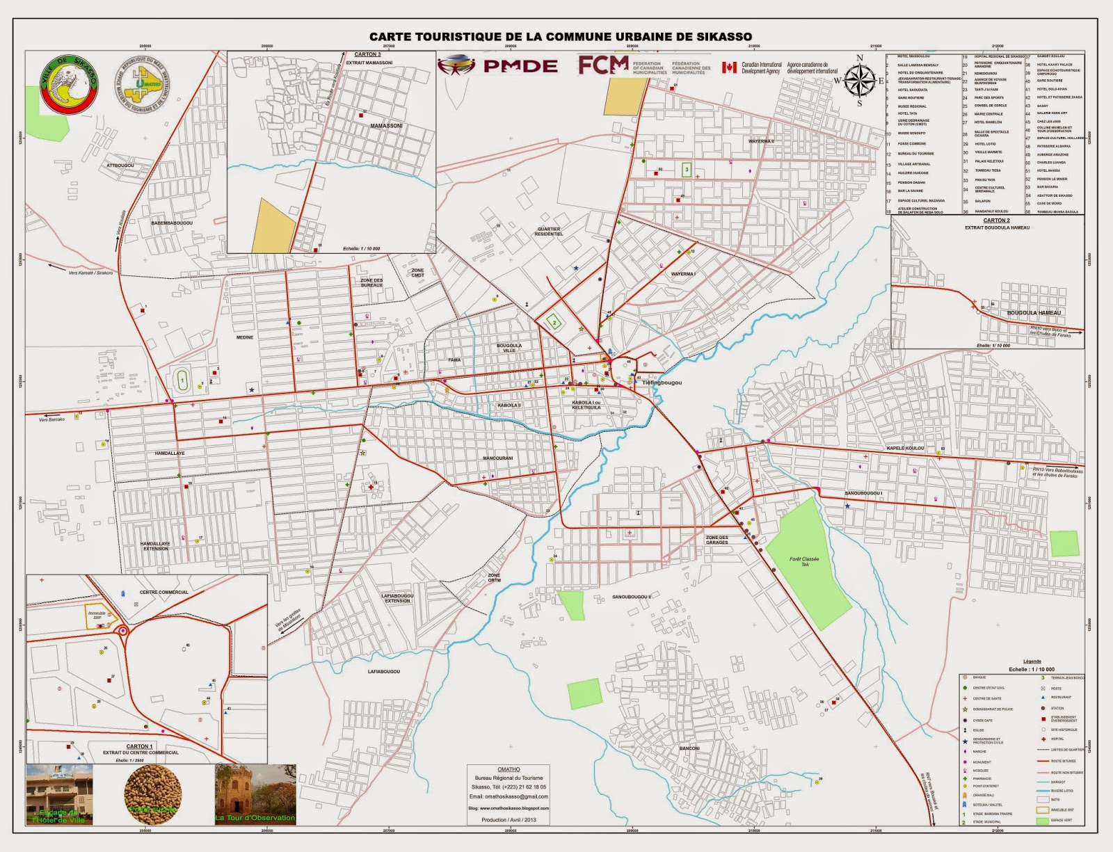 Carte touristique de la Commune Urbaine de Sikasso
