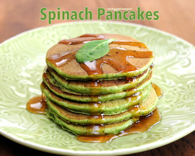 Spinach Pancakes ♥ AVeggieVenture.com, whole-wheat pancakes with fresh spinach, light and fluffy. Another good reason to Make Tonight Pancake Night!