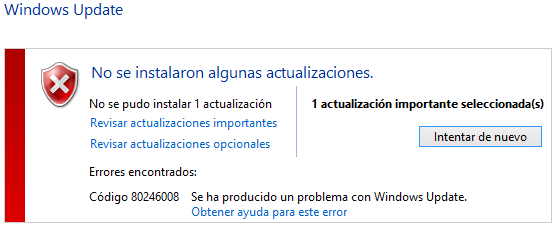 Reparar Windows update: Error 80246008
