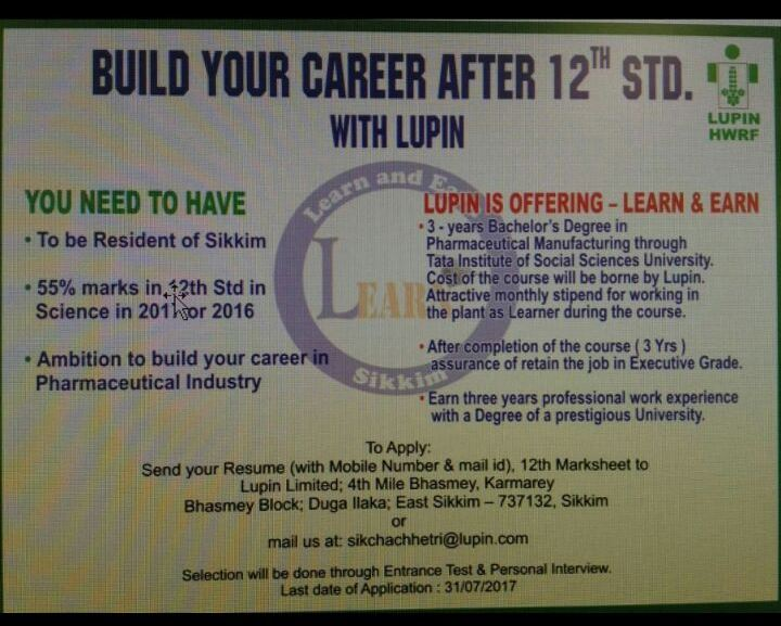 Pharma Vacancy: Lupin is Offering Career after 12th- Learn & Earn