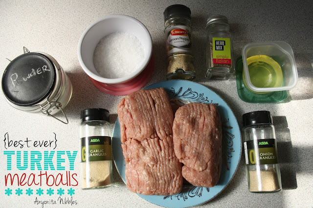 Ingredients for the best ever turkey meatbals moist and juicy from www.anyonita-nibbles.com