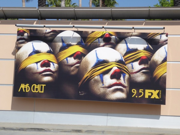AHS Cult blindfolded clowns billboard