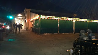 New Orleans French Quarter Cafe du Monde night awnings down