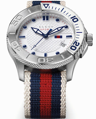 GUCCI G-Timeless Sport watch with Blue-Red-Blue Gucci Web
