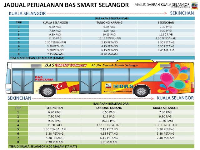 Jadual Perjalanan Bas SMART Selangorku Kuala Selangor Sekinchan