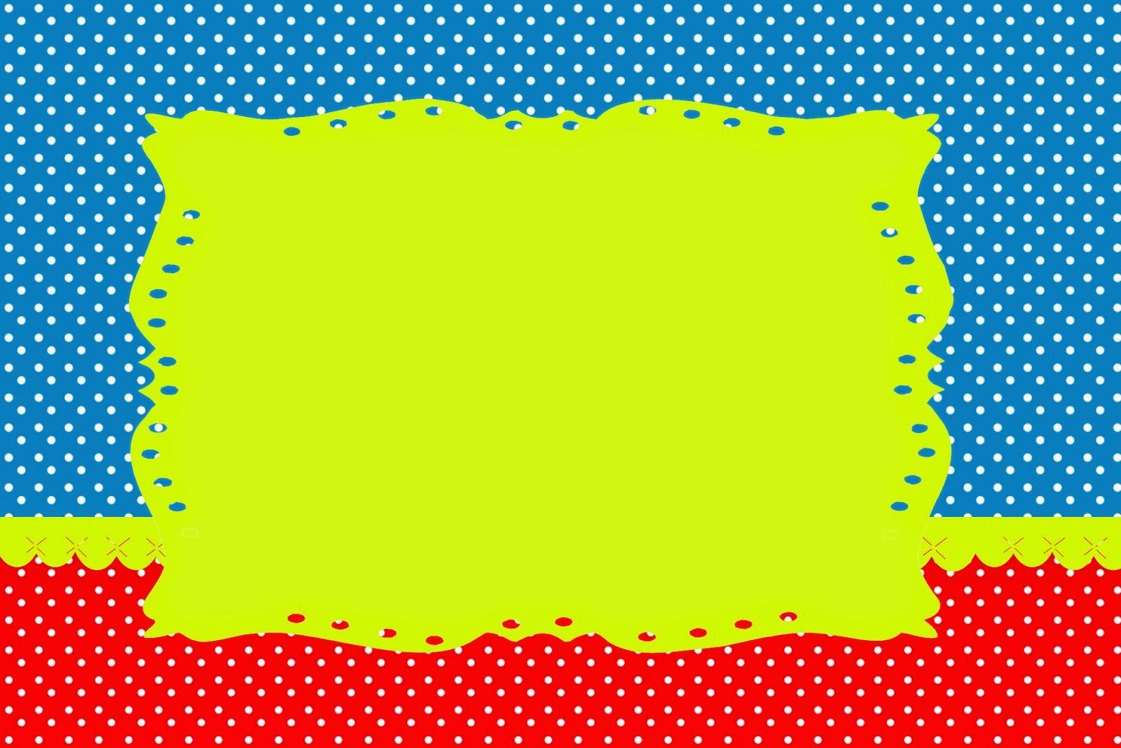 Para hacer invitaciones, tarjetas, marcos de fotos o etiquetas, para imprimir gratis de Rojo, Amarillo y Azul.