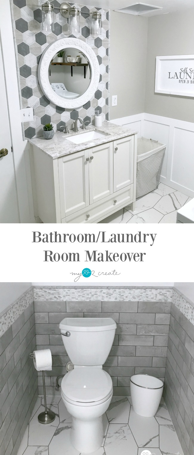 Bathroom/Laundry Room Reveal, One Room Challenge Week 6, MyLove2Create