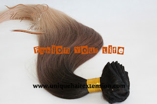 Three tone Russian virgin hair clip in hair extension