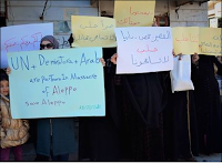 "Google translation of tweet: ""A protest in the city of Dana Brive # # # Idlib in solidarity with Aleppo"""