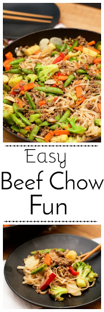 The pin image for the easy beef chow fun.
