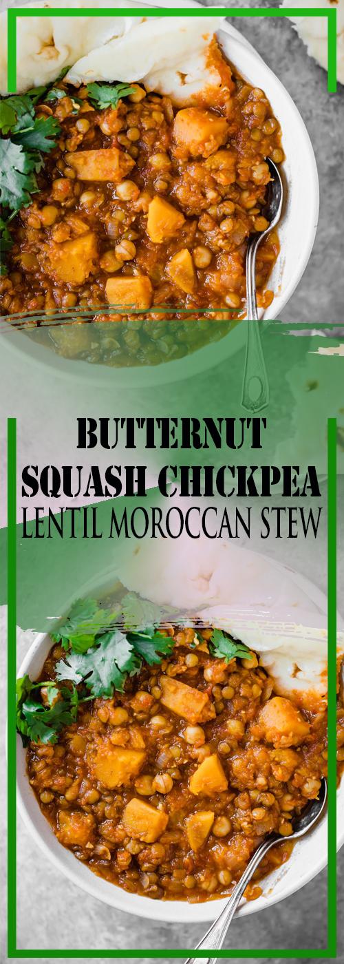 BUTTERNUT SQUASH CHICKPEA & LENTIL MOROCCAN STEW RECIPE