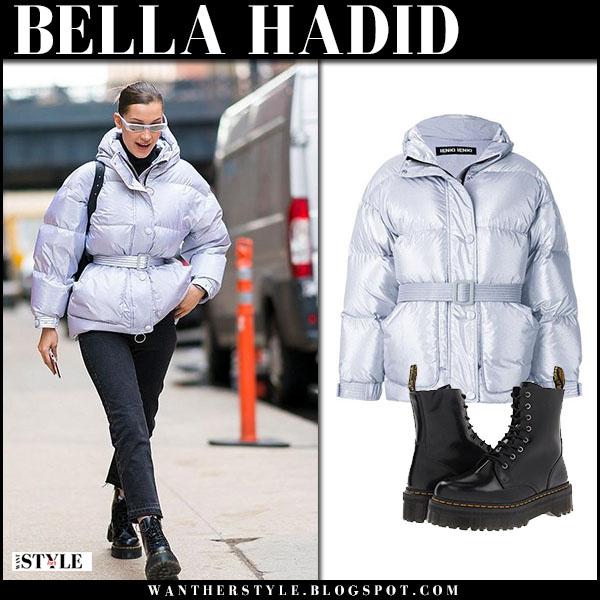 Bella Hadid in silver ienki ienki puffer jacket, black jeans and boots dr. martens jadon model street fashion march 23