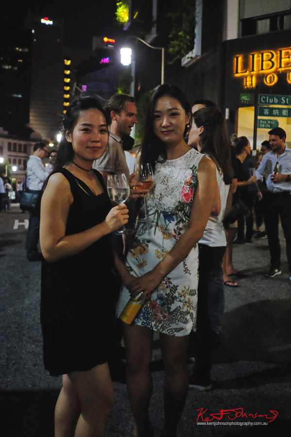 Ladies out enjoying a drink at Ann Siang Hill, Singapore. Photo by Kent Johnson for Street Fashion Sydney.