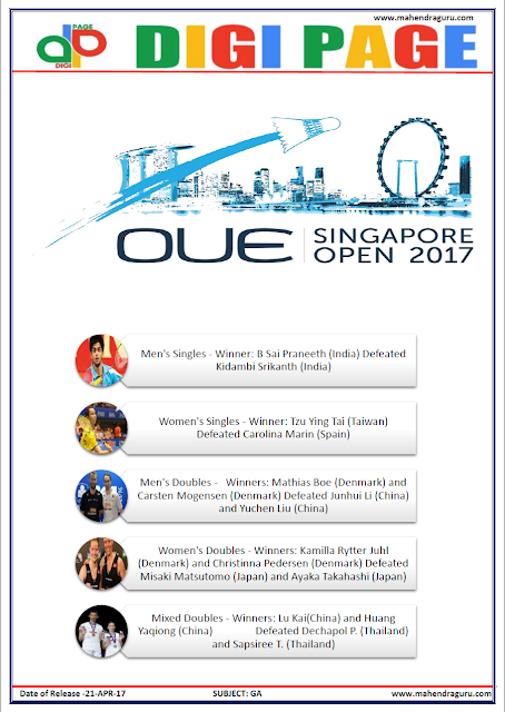 DP | SINGAPORE OPEN | 21 - APR - 17 | IMPORTANT FOR SBI PO