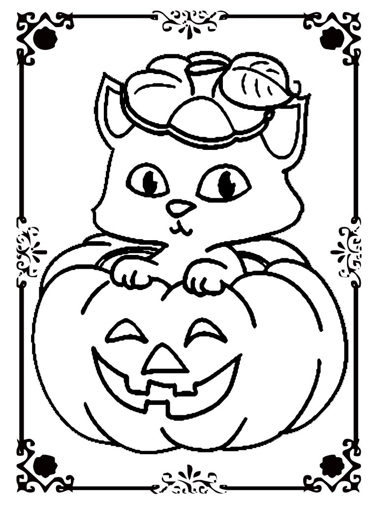 cat in a pumpkin halloween coloring page cat and pumpkin coloring pages realistic 7985