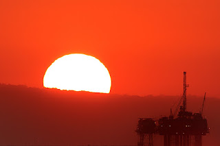 sunset oil platform, oil platform, sunset