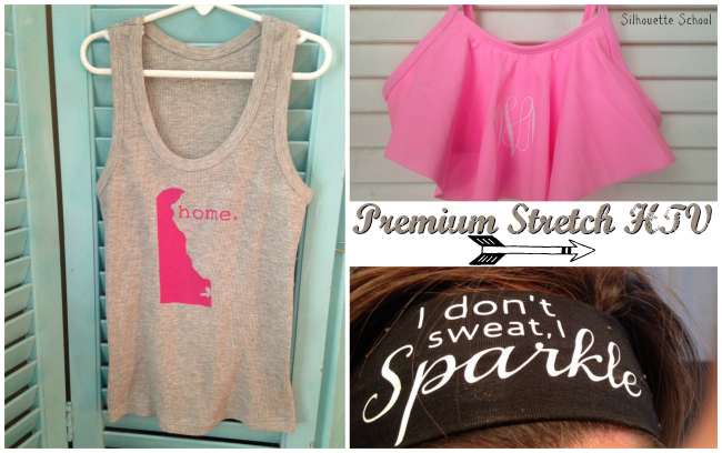 Silhouette tutorial, premium HTV stretch, premium heat transfer vinyl stretch, review, project ideas