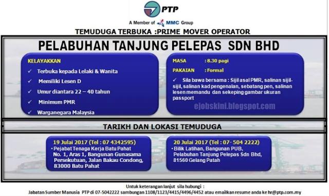 Temuduga Terbuka Pelabuhan Tanjung Pelepas (PTP) Pada Julai 2017
